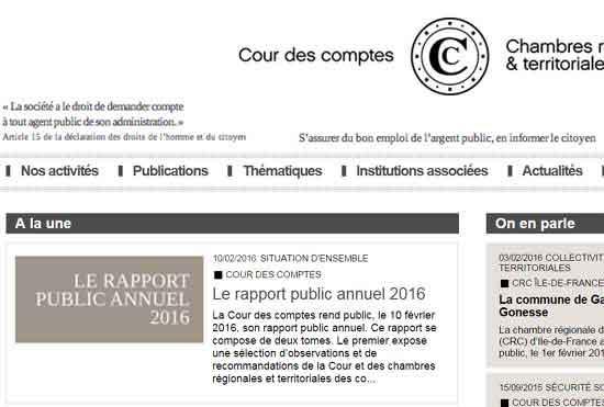 Rapport Public annuel 2016 - Cour des Comptes - extrait du site web